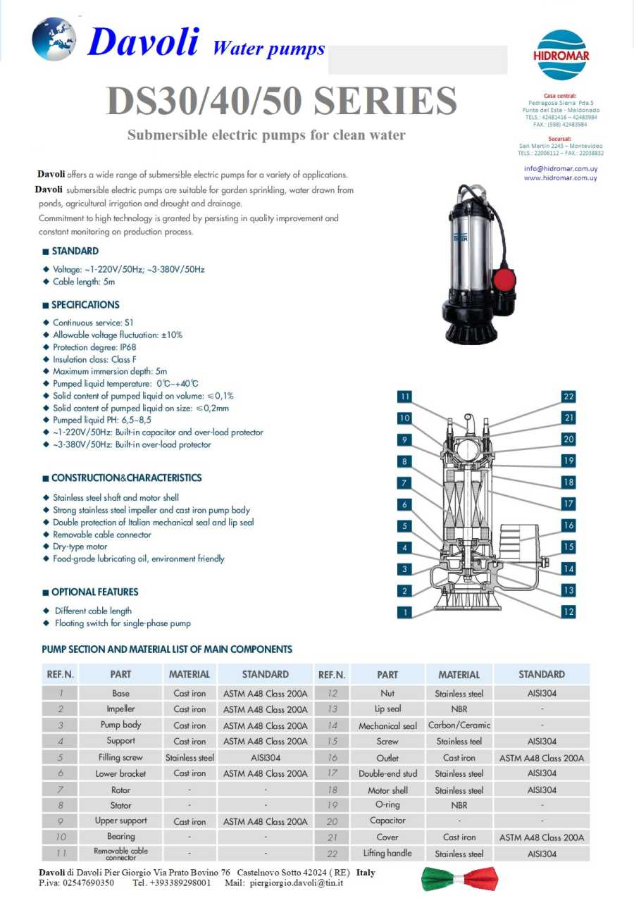 Davoli water pumps DS30 DS40 DS50